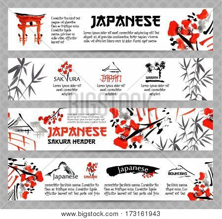 Horizontal website banners set with asia landscapes, buildings and blossoming sakura branch in traditional japanese sumi-e style. Vector templates on the patterned grey background