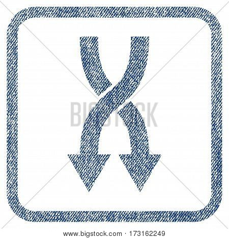 Shuffle Arrows Down vector textured icon for overlay watermark stamps. Blue jeans fabric vectorized texture. Symbol with dust design inside rounded rectangle.