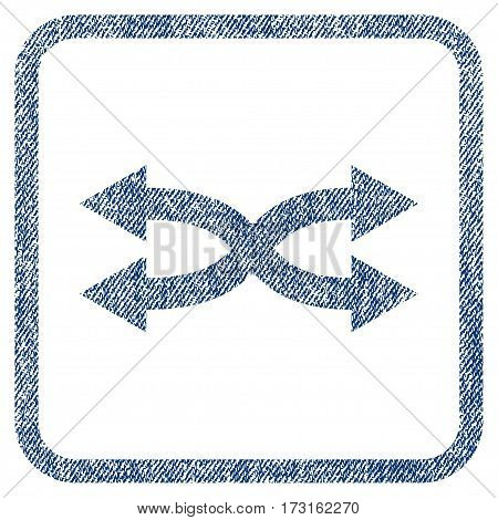 Shuffle Arrows Horizontal vector textured icon for overlay watermark stamps. Blue jeans fabric vectorized texture. Symbol with unclean design inside rounded rectangle.