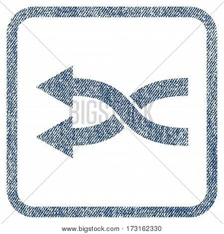 Shuffle Arrows Left vector textured icon for overlay watermark stamps. Blue jeans fabric vectorized texture. Symbol with unclean design inside rounded rectangular frame.