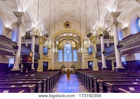 LONDON, ENGLAND - JANUARY 15, 2017 Saint Martin in the Fields Basilica Anglican Church Trafalger Square London England. Dedicated to Saint Martin of Tours in 1722 to 1726 is a Church of England Anglican church.