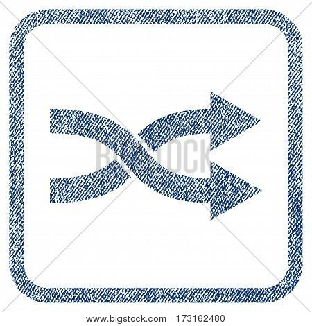 Shuffle Arrows Right vector textured icon for overlay watermark stamps. Blue jeans fabric vectorized texture. Symbol with dirty design inside rounded rectangular frame.