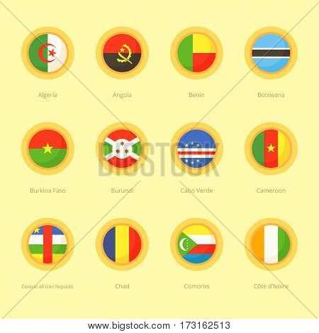 African Circular Flags (algeria, Cabo Verde, Comoros)