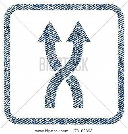 Shuffle Arrows Up vector textured icon for overlay watermark stamps. Blue jeans fabric vectorized texture. Symbol with dust design inside rounded rectangle.