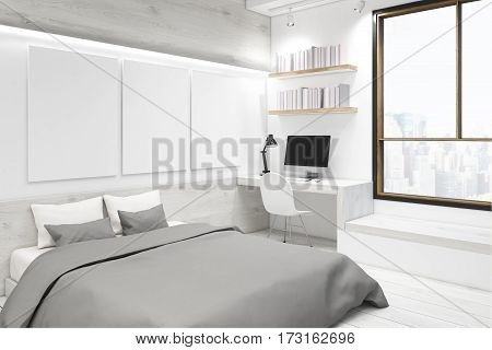 White Bedroom With Picture Gallery, Corner