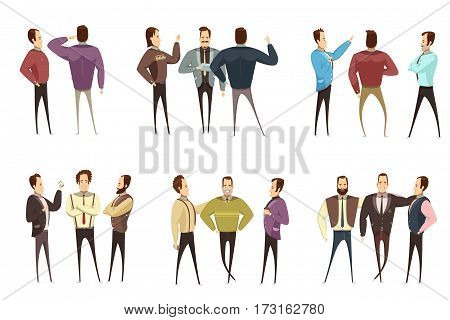 Set of groups of smiling businessmen in various clothing during conversation cartoon style isolated vector illustration