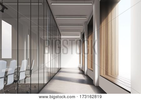 Front view of office interior with blank whiteboard behind glass doors hallway with concrete floor and panoramic windows. Mock up 3D rendering