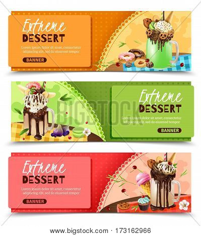 Super sweet rich extreme desserts recipes ideas 3 horizontal appetizing website page banners design isolated vector illustration