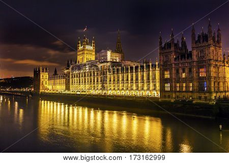 Houses of Parliament Westminster Bridge Night Westminster London England. Built in the 1800s House of Commons and House of Lords.
