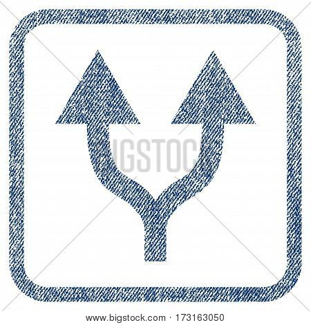 Split Arrows Up vector textured icon for overlay watermark stamps. Blue jeans fabric vectorized texture. Symbol with dust design inside rounded rectangular frame.