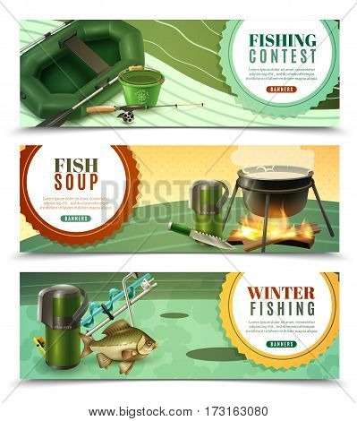 Winter ice fishing sport tournaments and fresh caught bass recipes 3 horizontal banners set isolated vector illustration