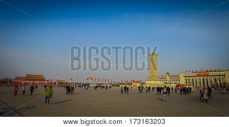 BEIJING, CHINA - 29 JANUARY, 2017: Monument for heroes, tall structure located on Tianmen square, beautiful blue sky.
