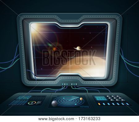 Space ship window with space planets and stars cartoon vector illustration