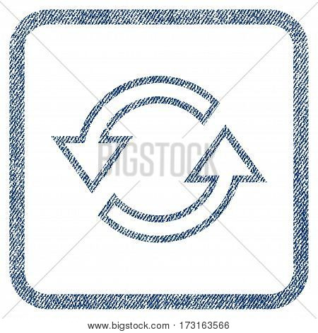 Sync Arrows vector textured icon for overlay watermark stamps. Blue jeans fabric vectorized texture. Symbol with scratched design inside rounded rectangular frame.