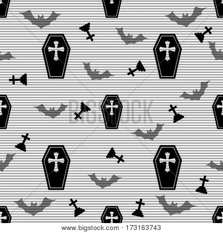 seamless casket and cross pattern on stripe background