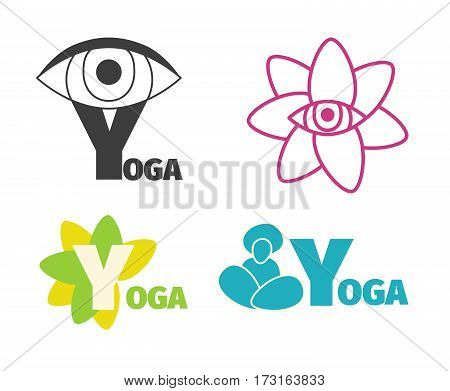 Yoga logo design template with eye, man silhouette and flower, letter Y. Vector set of icons