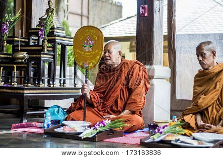 Koh Phangan - thailand - 28.09.2015 - Buddha monks pray ceremony Put hands together