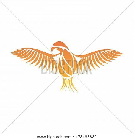 Flaming Phoenix Bird with wide spread wings in the orange fire colors on white background. Symbol of reborn and regeneration. EPS10 vector illustration.