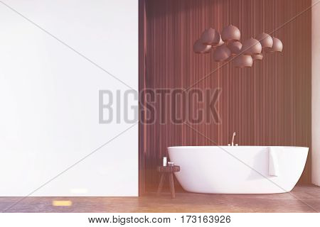 Bathroom With Lamps, Dark Wood, Wall, Toned
