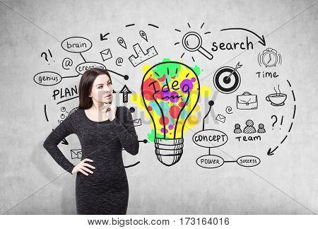 Pensive Girl In A Dress And Creative Idea Icon