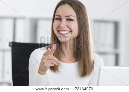 Portrait Of A Girl In White Pointing At You