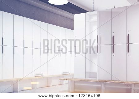 Locker Room With Open Door, Corner, Toned