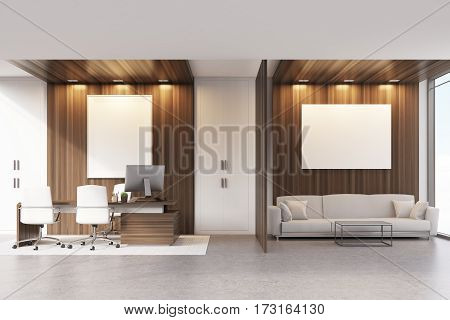 Ceo Office With Sofa, Table And Poster, Dark
