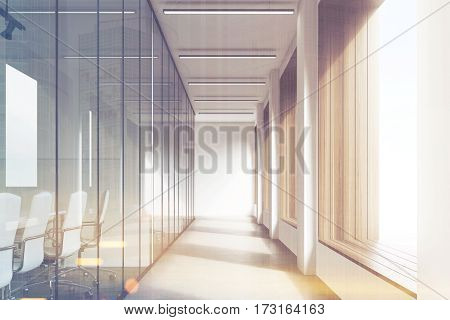 Front View Of Office Corridor, Glass, Toned