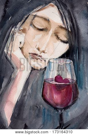 Sad woman with small red heart in glass of wine.Picture created with watercolors.