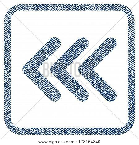 Triple Arrowhead Left vector textured icon for overlay watermark stamps. Blue jeans fabric vectorized texture. Symbol with unclean design inside rounded rectangular frame.