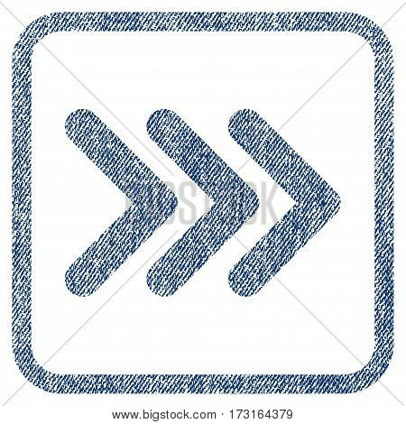 Triple Arrowhead Right vector textured icon for overlay watermark stamps. Blue jeans fabric vectorized texture. Symbol with unclean design inside rounded rectangle.