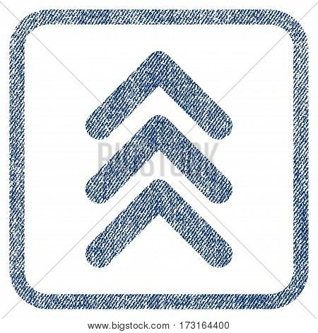 Triple Arrowhead Up vector textured icon for overlay watermark stamps. Blue jeans fabric vectorized texture. Symbol with unclean design inside rounded rectangular frame.