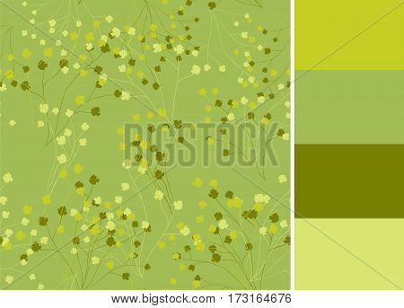 Seamless pattern with greenery, vector floral branches and color palette for wallpapers, fabric textile design, clothes, tableclothes