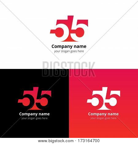 55 logo icon flat and vector design template. Monogram numbers five. Logotype fifty-five with red-pink gradient color. Creative vision concept logo, elements, sign, symbol for card, brand, banners.