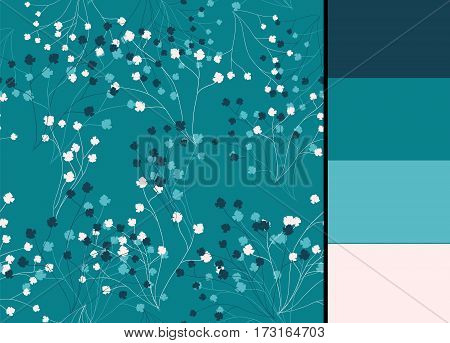 Seamless pattern with blue, vector floral stylized branches and color palette for wallpapers, fabric textile design, clothes, tableclothes