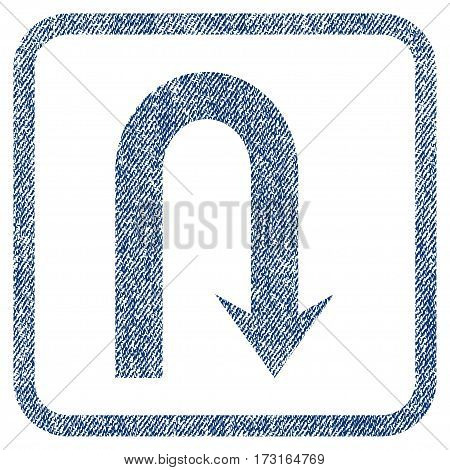 Turn Back vector textured icon for overlay watermark stamps. Blue jeans fabric vectorized texture. Symbol with unclean design inside rounded rectangle.