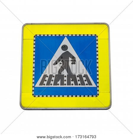 road sign pedestrian crossing isolated on white background