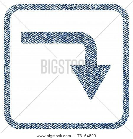 Turn Down vector textured icon for overlay watermark stamps. Blue jeans fabric vectorized texture. Symbol with dirty design inside rounded rectangle.