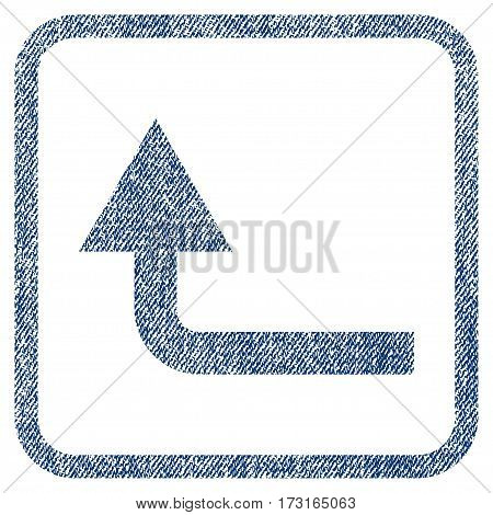 Turn Forward vector textured icon for overlay watermark stamps. Blue jeans fabric vectorized texture. Symbol with scratched design inside rounded rectangle.