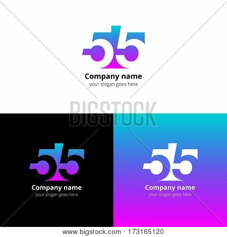 55 logo icon flat and vector design template. Monogram numbers five. Logotype fifty-five with green-pink gradient color. Creative vision concept logo, elements, sign, symbol for card, brand, banners.
