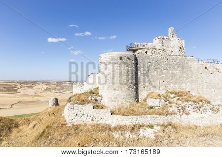 ruins of the ancient castle in Castrojeriz on a summer day, Burgos, Spain