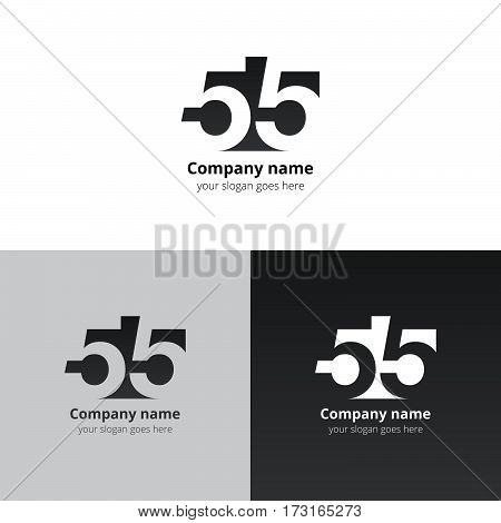 55 logo icon flat and vector design template. Monogram numbers five. Logotype fifty-five with grey gradient color. Creative vision concept logo, elements, sign, symbol for card, brand, banners.