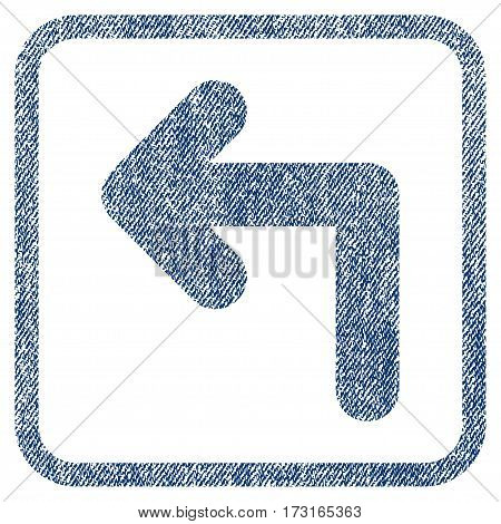 Turn Left vector textured icon for overlay watermark stamps. Blue jeans fabric vectorized texture. Symbol with scratched design inside rounded rectangular frame.