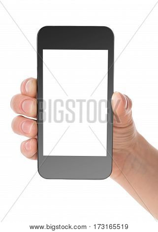Black communicator in hand isolated on a white background