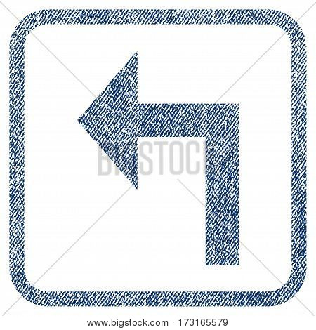 Turn Left vector textured icon for overlay watermark stamps. Blue jeans fabric vectorized texture. Symbol with dirty design inside rounded rectangular frame.