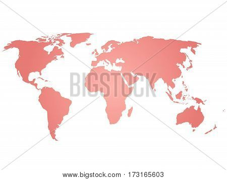 Map of World. Pink silhouette vector illustration with gradient on white background.