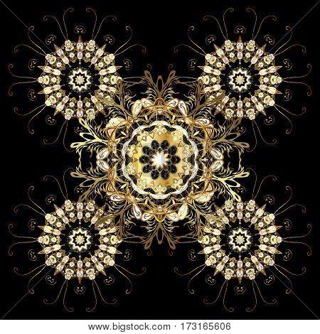 Christmas party design template. Abstract Christmass illustration with gold snowflakes on a black background.