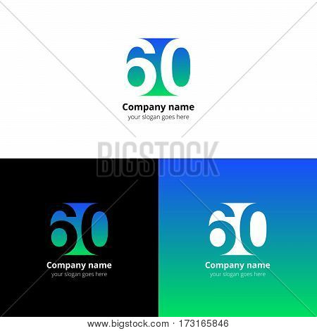 60 logo icon flat and vector design template. Monogram numbers six and zero. Logotype sixteen with blue-green gradient color. Creative vision concept logo, elements, sign, symbol for card, brand.