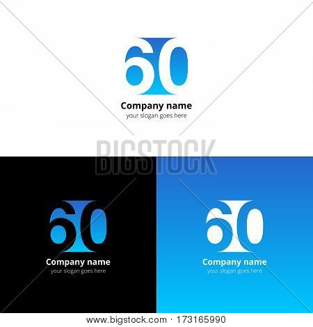 60 logo icon flat and vector design template. Monogram numbers six and zero. Logotype sixteen with blue gradient color. Creative vision concept logo, elements, sign, symbol for card, brand.