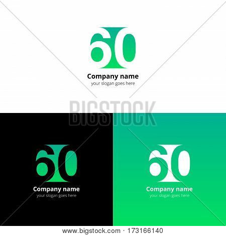 60 logo icon flat and vector design template. Monogram numbers six and zero. Logotype sixteen with light green gradient color. Creative vision concept logo, elements, sign, symbol for card, brand.